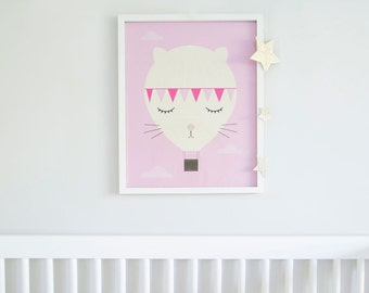 Baby Girl Nursery, Pink Nursery, Girls Room Decor, Baby Girl Nursery, Pink Bedroom Art, Cute Kitty Print, Nursery Art Pink, Baby Girl Gift