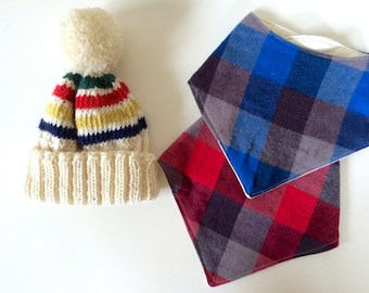 Baby Knit Hat and Bandana Bib Gift Set | Gift for Baby | Ready To Ship | Striped Beanie | Red & Blue Plaid Flannel Bib