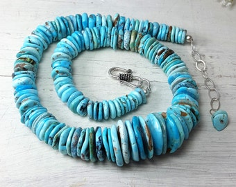 AAA American Turquoise Necklace Sonoran Nacozari Turquoise Sterling Silver