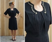 Vintage 50's/60's Elegant Black Dress with Rounded Illusion Collar and Rhinestone Brooch Buttons | Large XL