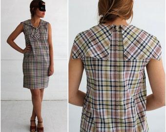 Vintage 60's/70s Plaid Sleeveless Shift Dress with Sailor Collar by Sears Roebuck | Medium/Large