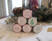 Christmas Holiday Place Setting Wood Napkin Rings Hand Stamped - Set of 6 - Item 1672