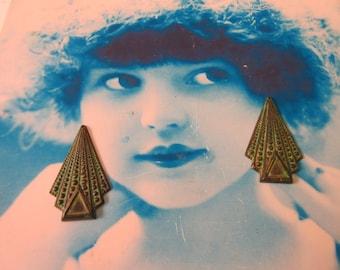 Verdigris Patina Brass Art Deco Style Drop Stampings 339VER x2