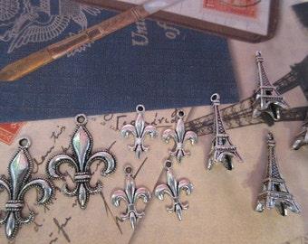Paris themed charms, Eiffel tower charms, Fleur-de-lis charms,