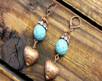 Heart Of Steel, Western Cowgirl Southwestern Boho Copper & Turquoise Earrings- Heart Earrings- Turquoise Earrings- Rhinestone Heart Earrings