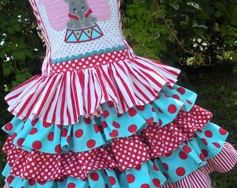 Made to Order Custom Dumbo Circus Red Stripe Disney Ruffle Dress Girl Size 2 3 4 5 6 7 or 8