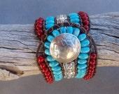 Native American Beadwork Cuff, Turquoise and Red Stone Bracelet, Woven Leather Cuff, Gem Stone Cuff, Old Buffalo Nickel Closure, SANTA FE