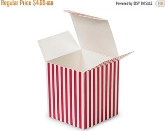 Pre Holiday Stock Up Sale 6 Pack Red and White Stripe Paper Tuck Top Style Packaging Retail Gift Boxes 3.25X3.25X3.25 Inch Size