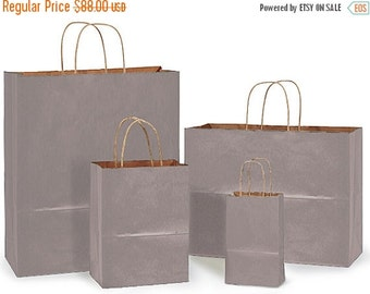 Pre Holiday Stock Up Sale 100 pack  Assortment of 4 most popular sizes Tinted Kraft handled Merchandise Bags