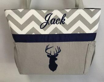 Personalized   ...   DEER  Silhouette  .. DIAPER Bag .. Applique   ... Bottle Pockets