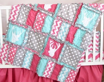 Deer Crib Bedding Baby Girl Crib Set - Pink / Turquoise / Grey Bedding- Rustic Crib Bedding- Woodland Baby Quilt, Sheet, Skirt, Crib Bumpers
