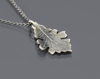 Bur Oak Leaf Necklace, small sterling silver oak leaf pendant, botanical jewelry, botanical necklace