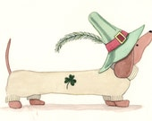 Dachshund (doxie) proudly wearin' the green for St. Patrick's Day / Lynch signed folk art print