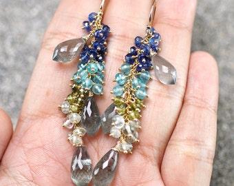 Moss Aquamarine, Kyanite, Apatite, Green Tourmaline, Green Amethyst cluster gemstone earrings, 14k gold filled hooks ... WAINIHA Earrings
