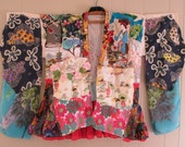 hold for fh - opera jacket  PATCHWORK GEISHA KIMONO Collage Clothing -Altered Asian Antique Japanese  - Upcycled Vintage Linens Wearable Art