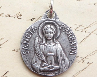 St Barbara Medal - Patron of architects and firemen - Antique Reproduction
