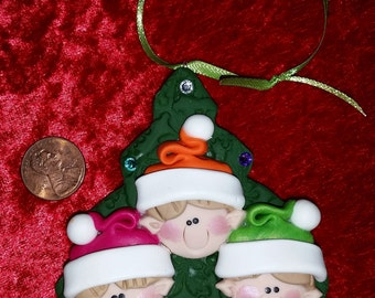 Family of 3 - Eskimo Igloo or Elf Tree or Salmon PERSONALIZED Christmas ORNAMENT - Hand Crafted w/ Polymer Clay - Moosellaneous By Rebecca