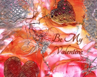 Valentine's Day Card Printable DIY Valentines Love 5x7 pdf from Hawaii Be My Valentine Downloadable Download  Hearts Romance encaustic art