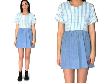 DENIM + plaid mini dress vintage early 90s GRUNGE pale faded CHAMBRAY baby doll dress small