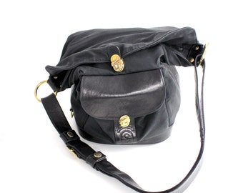 Vintage Marino Orlandi Black Leather and Nylon Purse | Slouchy Bucket Bag | Large Leather Shoulder Bag