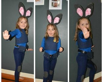 Ladies - Bunny Cop Costume - Catsuit, Belt and Vest