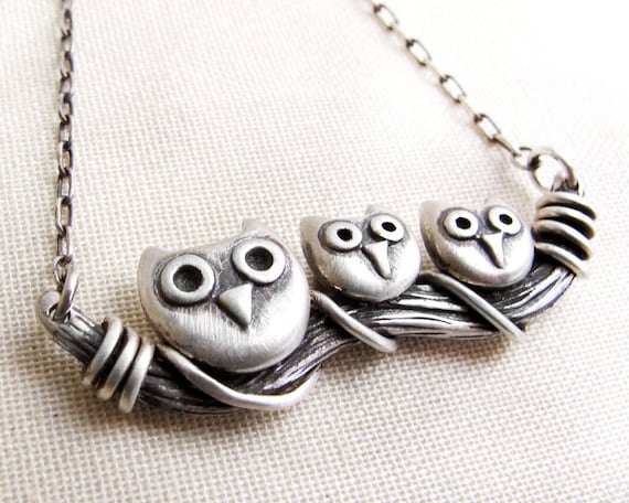 Owl necklace, sterling silver owl jewelry, mother's day jewelry, Owl family necklace, gift for mom, wife gift