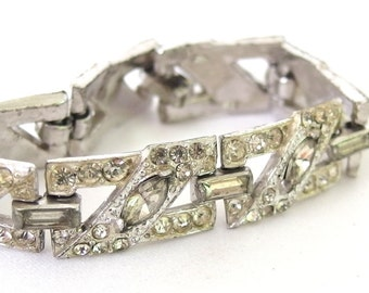 Vintage Art Deco Rhinestone Link Bracelet