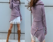 fragrance of adventure - deconstructed sweater / asymmetrical knit jumpsuit / scarf collar sweater / lilac sweater / heather gray (Y1653)