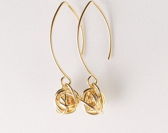 Gold Knot Earrings, Long Knot Earrings, Long Gold Earrings