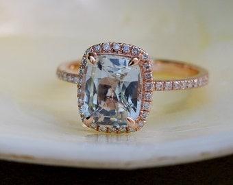 White Sapphire Ring 14k Rose Gold Diamond Engagement Ring 2.78ct cushion white sapphire ring by Eidelprecious