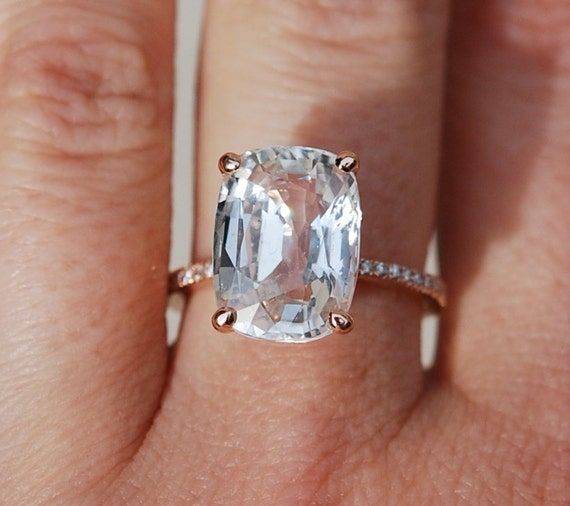 Blake Lively ring White Sapphire Engagement Ring cushion cut 18k rose gold diamond ring 8.03ct White champagne sapphire ring