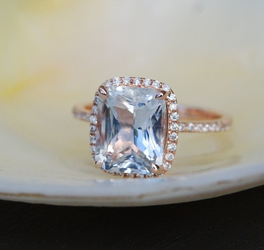 Engagement ring White Sapphire Engagement Ring emerald cut 14k rose gold diam