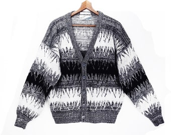80's grandpa cardigan // vintage BLACK and WHITE striped sweater // tribal print  // size M L