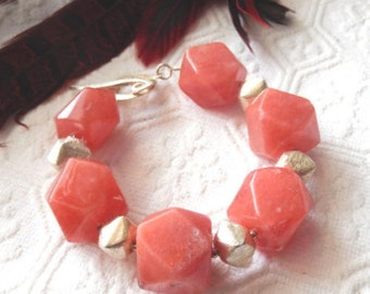 SALE.....One of a Kind Sterling Silver and Rhodonite Bracelet