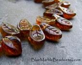 Leaf Beads-Twisted Leaves, Pressed Glass Leaves, Czech Glass Beads-Autumn Beads, Topaz Bead, Full Strand, Leaf Pendant, Leaf Charm, 25 Beads