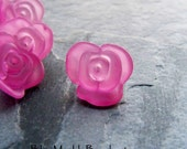 Rose Beads-Rose Button-West German-Flower Buttons-Lucite Bead-Lucite Buttons-Pink Flowers-Vintage Lucite-Spring Beads-10 Beads