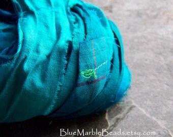 Recycled Sari Ribbon-Striped Ribbon-Silk Sari Ribbon-Reclaimed Recycled Silk Sari Ribbon-Turquoise Ribbon-Vibrant Turquoise-4 Yards
