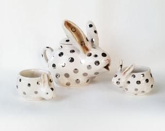 Silver Polka dotted Bunny Tea Set
