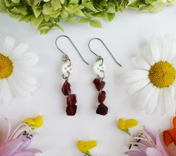 Raw Garnet and Teeny Tiny Button Dangles