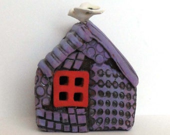 Bird House Spirit House Prayer house Ceramic Wall Sculpture