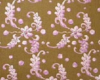 Tina Givens Japanese Flowers Brown Cotton Fabric 1 Yard