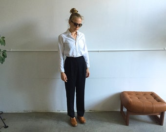 Vintage High Waist Black Wool Trousers.