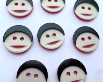 8 People Face Vintage Buttons for Crafts Sewing Scrapbooking