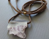 Amethyst Crystal Druzy Drusy Slice Necklace