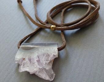 Amethyst Crystal Druzy Drusy Slice Necklace