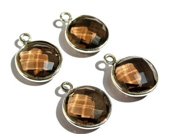 55% OFF SALE 2PCS 1 Matched Pair 925 Sterling Silver and Aaa Genuine Smoky Quartz Faceted Coin Shaped Bezels