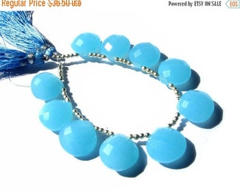 55% OFF SALE 4 Pcs 2 Matched Pair -  AAA Peru Aqua Blue Chalcedony Faceted Heart Briolettes Uniform Size 15x15mm Approx High Quality, Great