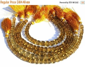55% OFF SALE Full 8 Inches - Beer Quartz Micro Faceted 3D Cubes Briolettes Size 6 - 7mm Approx Finest Quality Wholesale Price