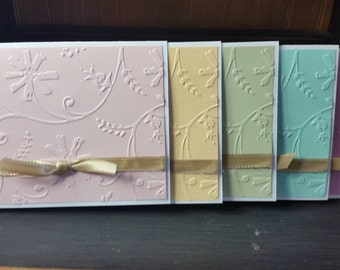 Handmade Greeting Cards-Greeting Cards-Hostess Gift-Embossed Flower Cards-Handmade Cards-Set of 5 Cards-Set of Cards- Yellow- Blue