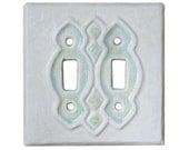 Ceramic Light Switch Cover- Moroccan Double Toggle in White Agate Glaze
